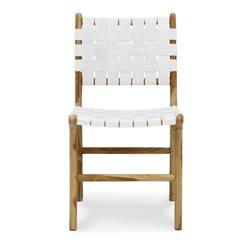 Woven leather dining chair white