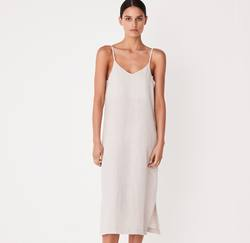 Assembly Label linen slip dress oat marle