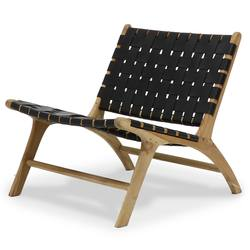 Buy Low woven leather lounge chair black in NZ New Zealand.