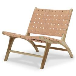 Buy Low woven leather lounge chair nude in NZ New Zealand.
