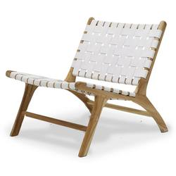 Low woven leather lounge chair white