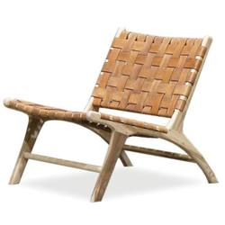 Low woven leather lounge chair tan