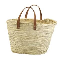 Woven market bag with flat handles