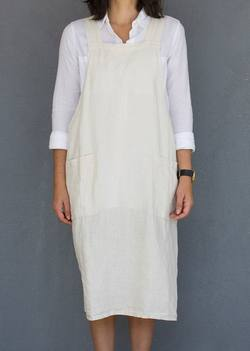 Buy Cross over back linen apron in NZ New Zealand.