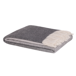 NZ lambswool Piha blanket coal grey