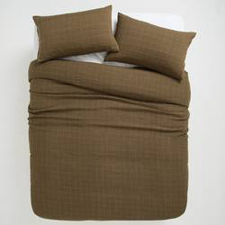 Buy Sove grid linen duvet cover olive in NZ New Zealand.