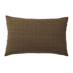Sove grid linen pillowcases olive pair
