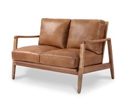 Reid leather 2-seater couch tan
