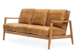 Reid leather 3-seater couch tan