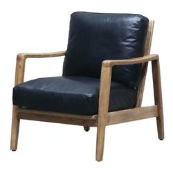 Reid leather armchair black