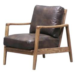 Reid leather armchair dark brown