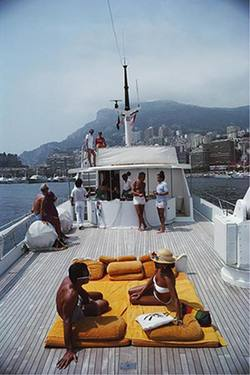 Buy Slim Aarons 'Scotti's Yacht' photographic print in NZ New Zealand.