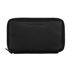 Leather zipped travel wallet black
