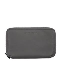 Leather travel wallet grey