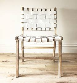 Woven leather dining chair white wash frame