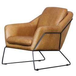 Workshop leather armchair tan
