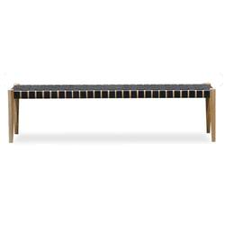 Woven leather bench seat 150cm