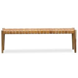 Woven leather bench seat 180cm