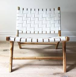 Woven leather lounge chair
